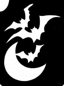 Glitter Tattoo HALLOWEEN BATS MOON