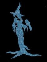 Glitter Tattoo HALLOWEEN WITCH WITH CROW heks kraai