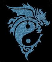 Glitter Tattoo DRAGON YING YANG draak