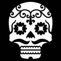 Glitter Tattoo SKULL TRIBAL LARGE doodskop tribal groot