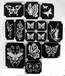 Glitter Tattoo BUTTERFLIES  1 vlinder set van 11 sjablonen