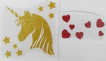 Strijkapplicatie unicorn head stars hearts