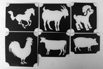 Glitter Tattoo FARM ANIMALS 1 set van 5 sjablonen