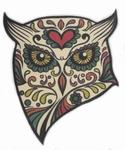 Strijkapplicatie owl sugar skull uil