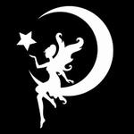 Glitter Tattoo fairy on moon fee maan
