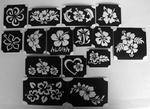 Glitter Tattoo hibiscus  1 set van 15 sjablonen